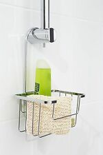 Croydex Shower Bathroom Riser Rail Organiser Tidy Caddy with Hanger - Chrome
