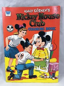 Vintage-1957-MCMLVII-Walt-Disney-Mickey-Mouse-Club-Coloring-Book-by-Whitman-USA