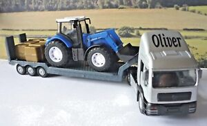 PERSONALISED-NAME-Gift-Boys-Toy-BLUE-TRACTOR-amp-TRANSPORTER-LORRY-Present-Boxed