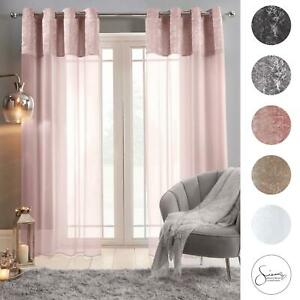Sienna Crushed Velvet Voile PAIR of Net Eyelet Ring Top Curtains Blush Silver