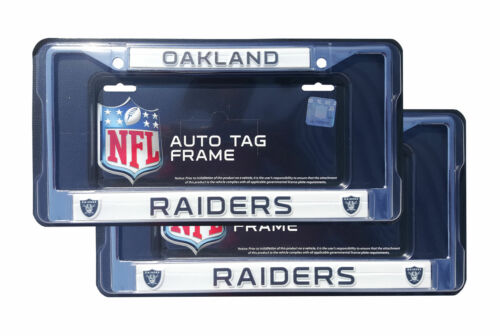 2 PC Football Team Oakland Raiders Metal Chrome Auto Tag License Plate Frame
