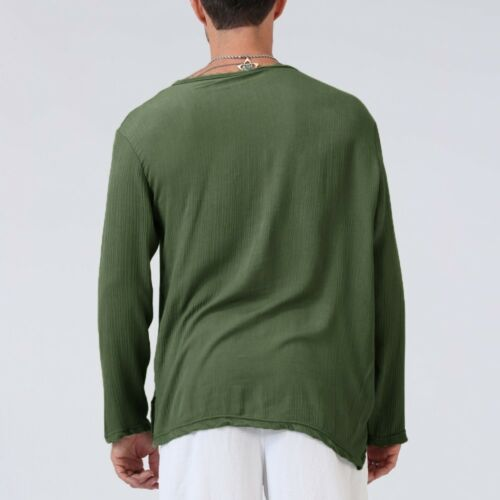 Fashion Men Loose Fit T-Shirt Cotton Linen Loose Shirt Yoga Tops Casual Blouse