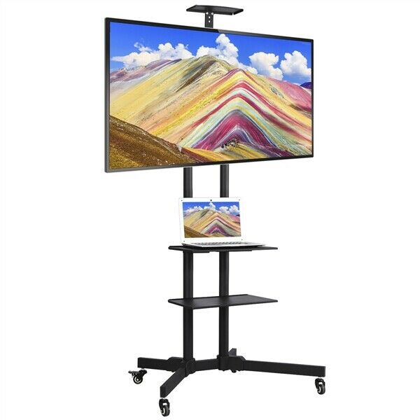 Tv Mobile Floor Stand Adjustable Mount Wheels For Screens 32 65 Cart Metal For Sale Online Ebay