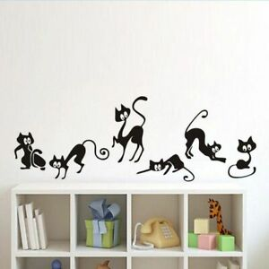 Lovely-6-Black-Cute-Cats-Wallpaper-Children-Girls-Vinyl-Home-Decor-Wall-Stickers