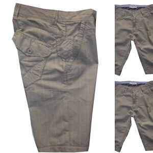 Rationnel Bermuda Shorts Uomo Cotone Guy 42 44 56 Pantaloni Corti Beige Vita Bassa Quadri