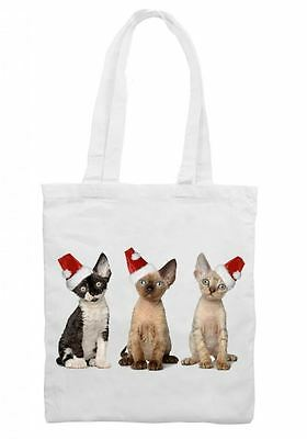 Santa Claus Kittens Tote Bag Christmas Gift Present Xmas Father Cat Stocking Wohltuend FüR Das Sperma Kleidung & Accessoires