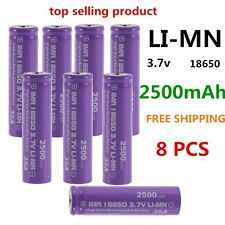 8 PCS High Drain Rechargeable Battery 18650 35A 3.7V LI-MN 2500mAh Button Top#X8