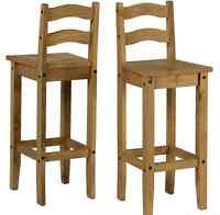 Breakfast Bar Stools Chair Wooden Solid Pine Tall Wood Chairs Bar Pub Barstools