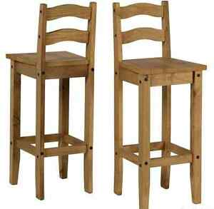 Breakfast Bar Stools Chair Wooden Solid Pine Tall Wood