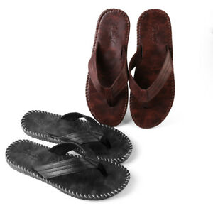 b8b2d9397bd9 Mens Summer Leather Anti-slip Flat Flip Flops Beach Slipper Sandals ...