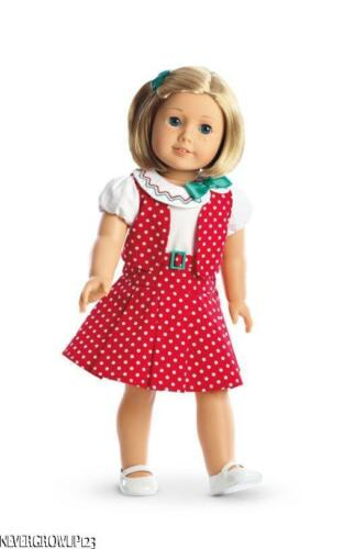AMERICAN GIRL KIT/'S RED//WHITE POLKA DOT REPORTER OUTFIT~DRESS~VEST~SHOES~NEW