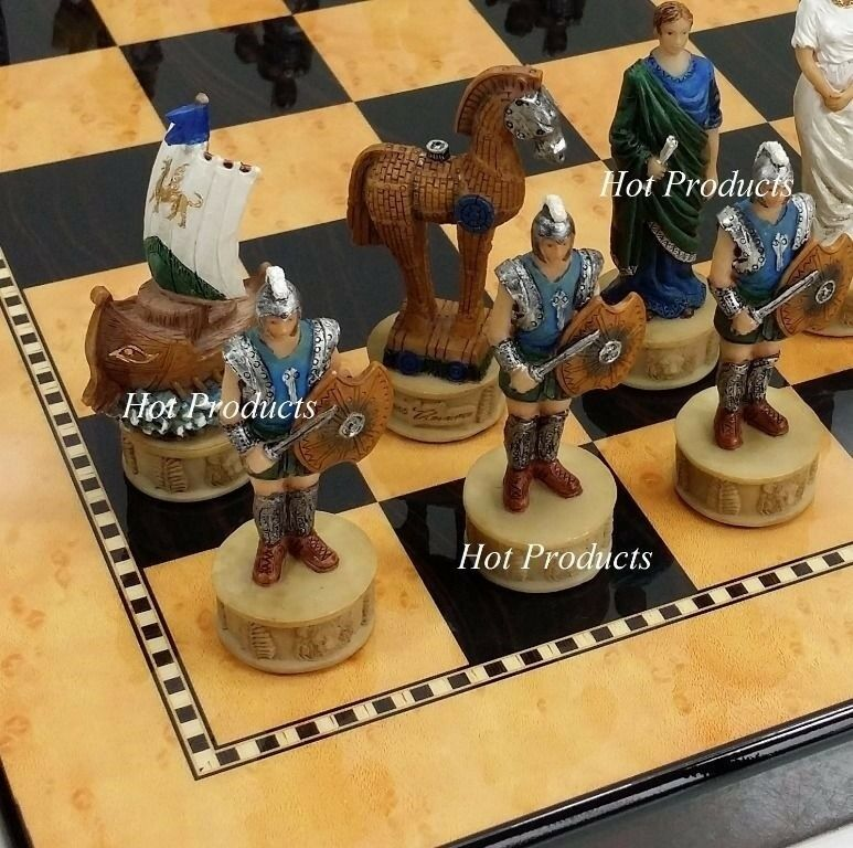 Greek Mythology Trojan War Troy vs Spartan CHESS SET 15  Mahogany Colore Board