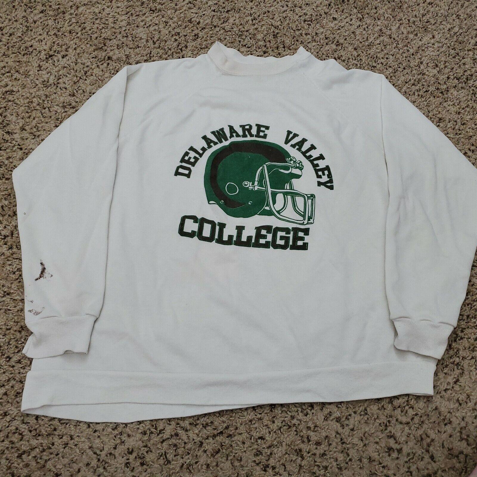 Vintage 80s Delaware Valley College Sweatshirt White Mens Size XL