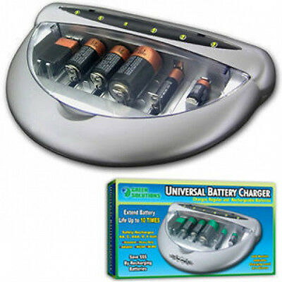 Universal Battery Charger Re-Charge Regular Alkaline and Rechargeable Batteries