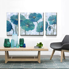 Modern Oil Painting Printed On Canvas Blue Flowers Wall Art For Gift NO Frame