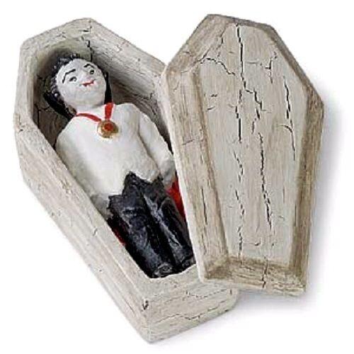 Miniature Coffin with Dracula Vampire JE 61580 Fairy Faerie Garden  Dollhouse