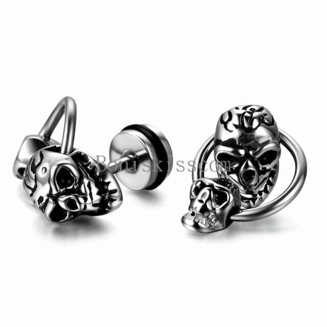 Silver Tone Stainless Steel Punk Gothic Double Skull Stud Earrings One Pair