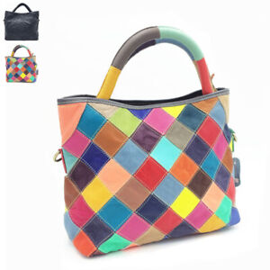 Multicolor-Patch-Real-Leather-Raw-Edge-Tote-Shoulder-Bag-Purse-Crossbody-Handle