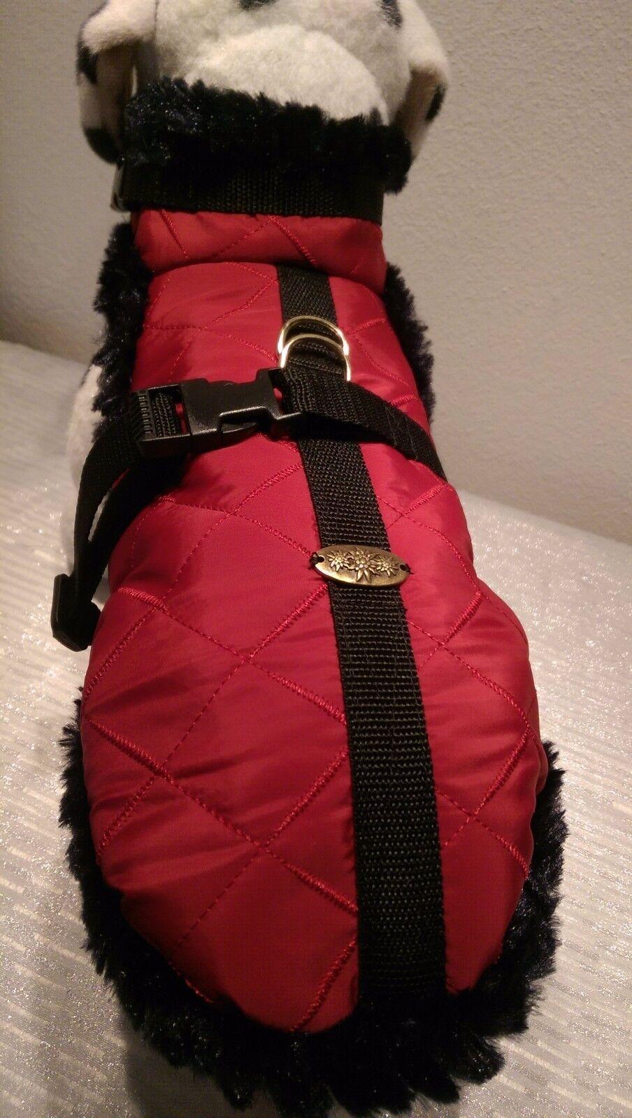Wintermantel Hundemantel Plüsch M Hunde warm roter Stepp Edelweiss Hunde   | Sehr gute Qualität