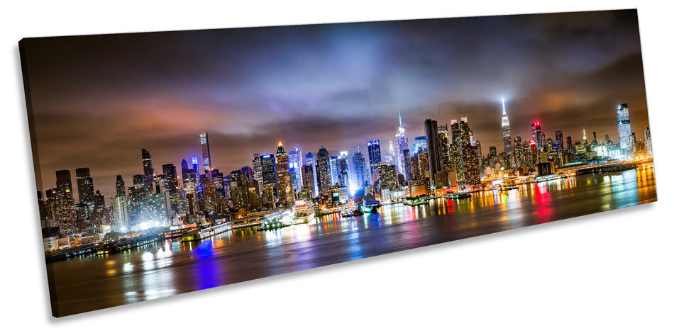 NEW York City NIGHT Scene Panorama Canvas Wall Art incorniciato stampa
