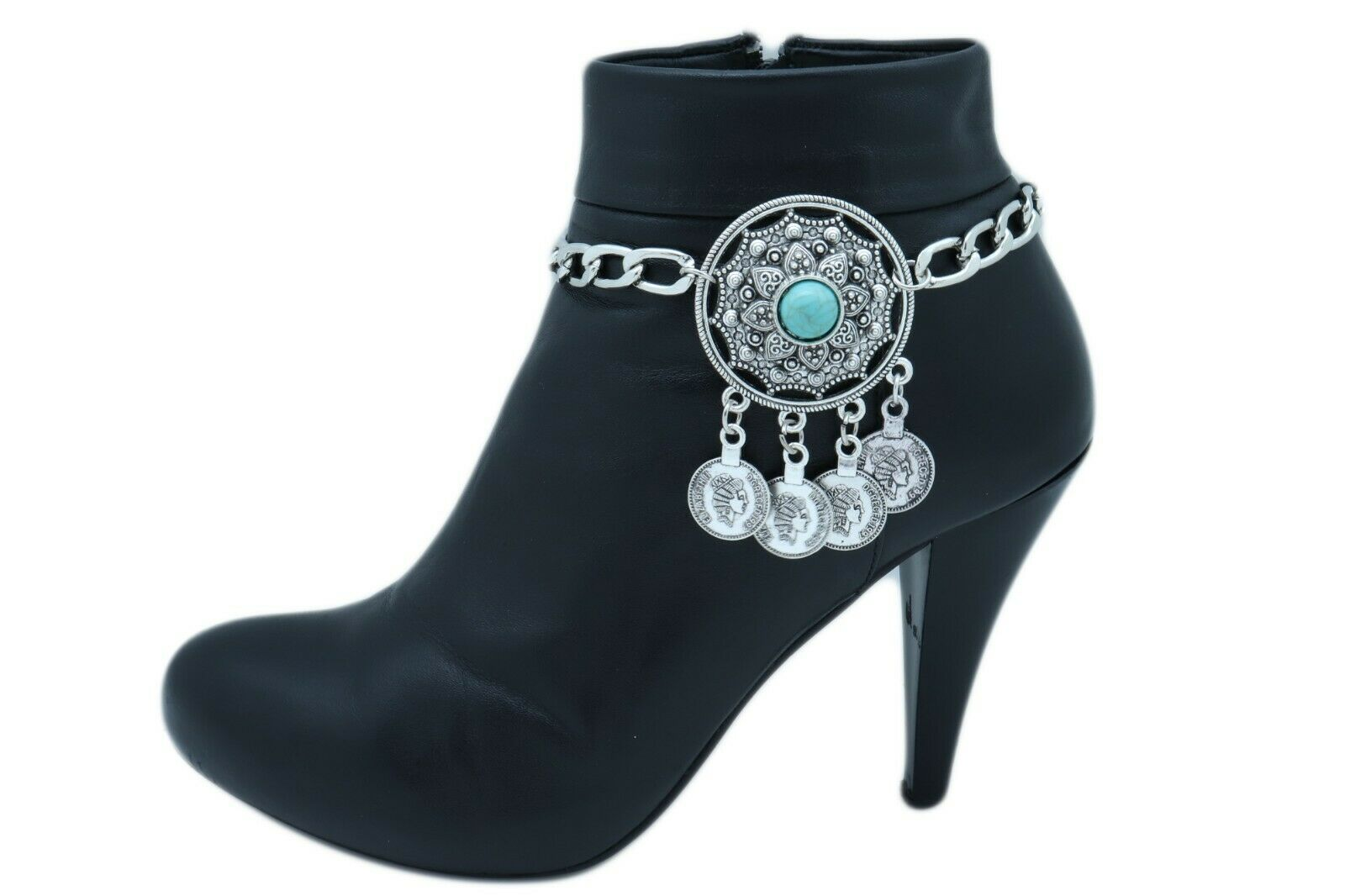 Women Silver Boot Chain Western Shoe Bracelet Turquoise Big Medallion Coin Charm
