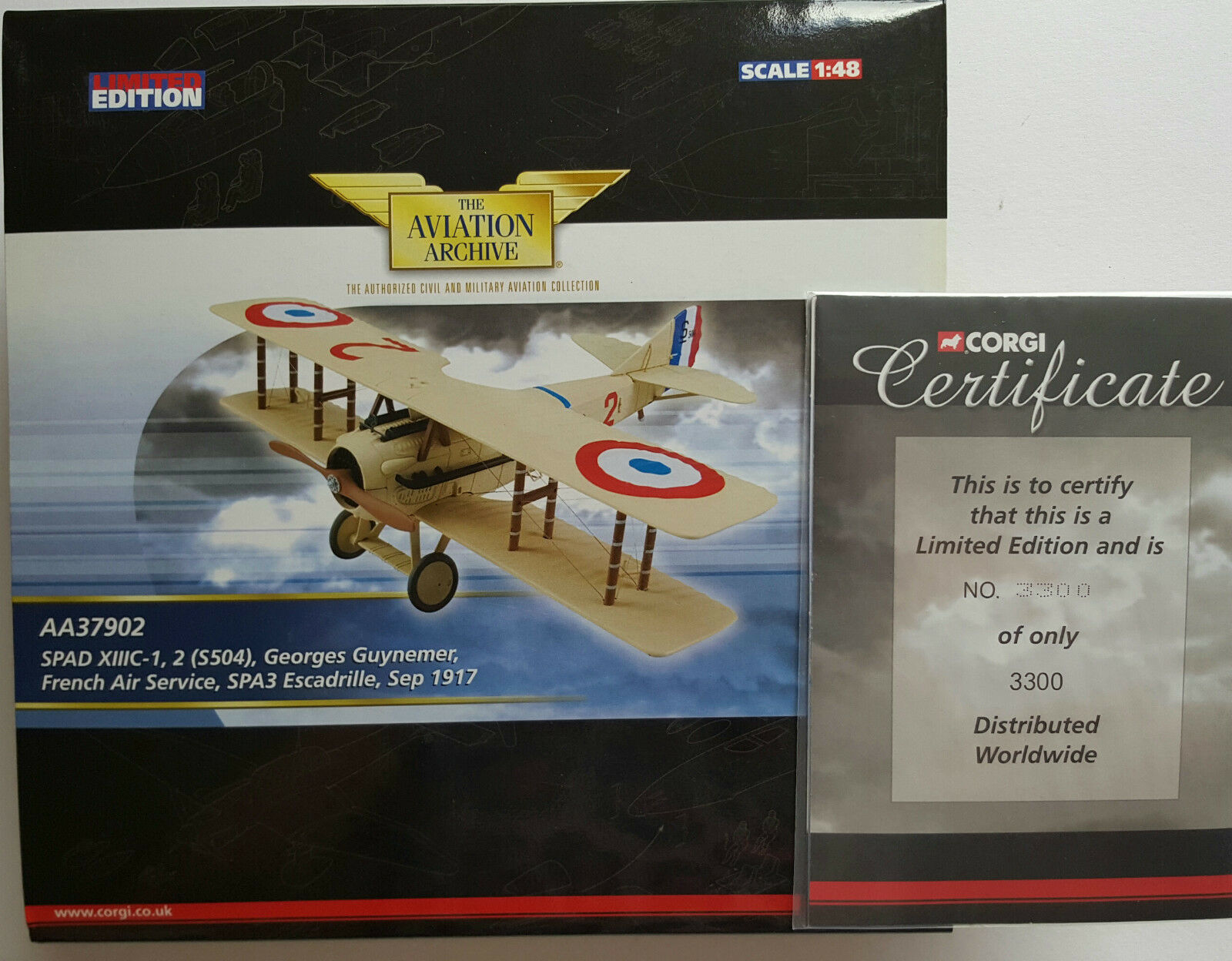 Corgi Aviation Spad XIIIC-1 French Air Serv. AA37902 Certificate No 3300 of 3300