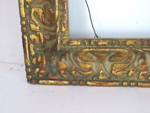 ART NOUVEAU, DECO HAND CARVED GILDED WOOD FRAME FOR PAINTING 16 X 12 INCH (e-21)