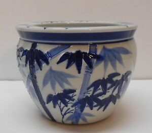 New England Pottery Planter Bamboo Trees Blue And White Ebay