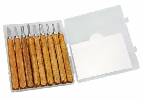 9 Piece Craft Wood Working Hand Carving Chisel Set Tools Kit Gouges Hobby