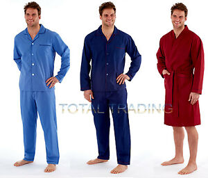 Mens-Plain-Poly-Cotton-Pyjamas-OR-MENS-POLY-COTTON-SUMMER-DRESSING-GOWN-HJ