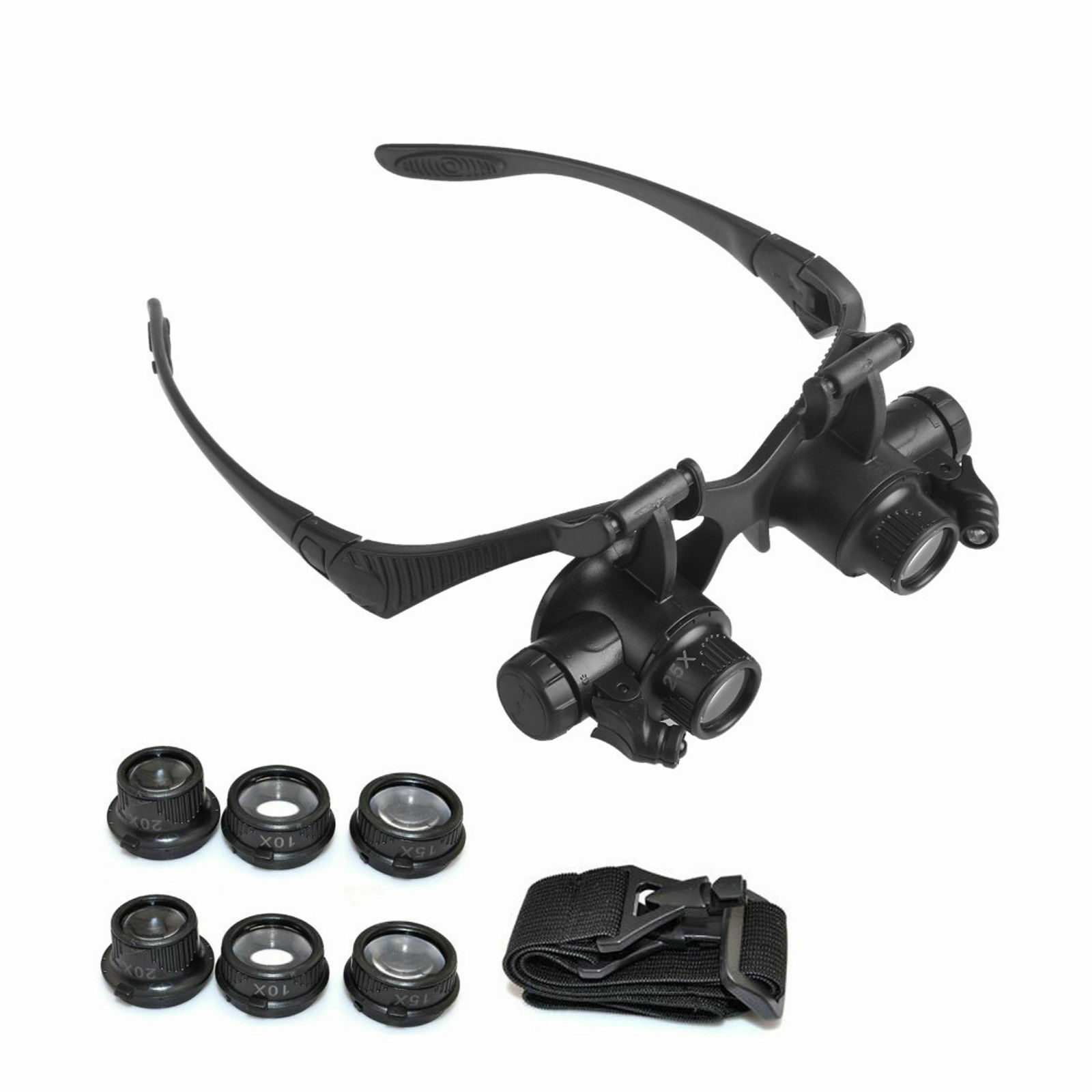 Brillenlupe Lupenbrille Kopflupe Juwelier Uhrmacher LED Lupe 10X 15X 20X 25X