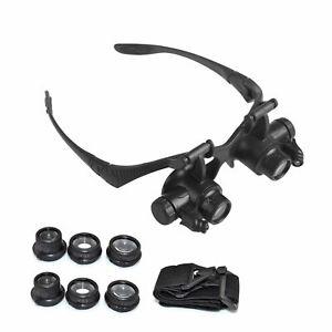 Brillenlupe-Lupenbrille-Kopflupe-Juwelier-Uhrmacher-LED-Lupe-10X-15X-20X-25X