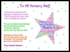 Personalised Thank You Poem Gift Magnet  Teacher Assistant