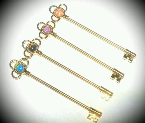 "Industrial Barbell Cartilage Jewelry Scaffolding 14g 1 1//2/"" Opal Skeleton Key"