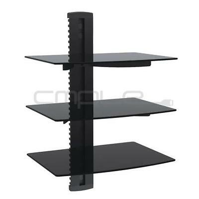 3 Tier Triple Glass Shelf Wall Mount Bracket Under TV Component Cable Box DVD