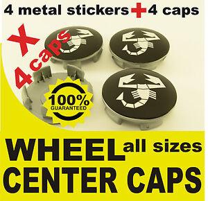 tapas llantas ruedas  wheel center caps 4 METAL STICKERS 4 CAPS ABARTH 14