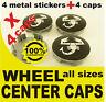 tapas llantas ruedas  wheel center caps 4 METAL STICKERS + 4 CAPS ABARTH BLACK