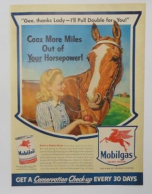 1940-49 Gentle Original Print Ad 1943 Mobilgas Mobiloll Coax More Miles Out Of Horsepower Waterproof Merchandise & Memorabilia Shock-Resistant And Antimagnetic