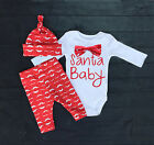 Newborn 3 6 12 18 Months Clothes Baby Girl Xmas Rompers Pants Outfit Set Clothes
