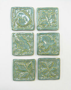 LEAF MOSAIC TILES Handmade Ceramic Art Tiles, Craft Tiles, Mint Green Set of 6