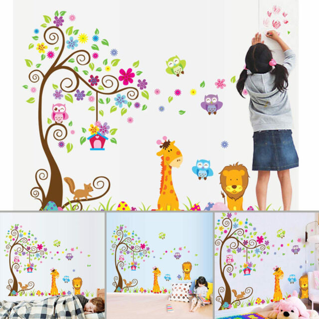 Lion Giraffe Owl Flower Tree Cartoon Wall Sticker Decal Kids Room Nursery Decor