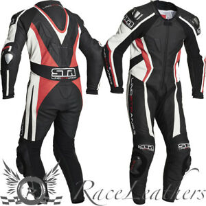 LINDSTRANDS-HYPER-1-PIECE-MOTORCYCLE-RACE-RACING-LEATHER-SUIT-BLACK-RED