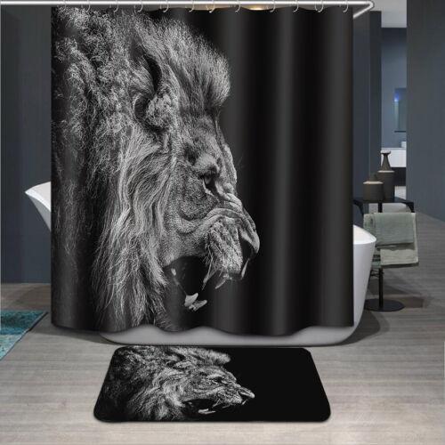 "72//79/"" Wild Lion Scenery Bathroom Polyester Fabric Shower Curtain Set /& 12Hooks"