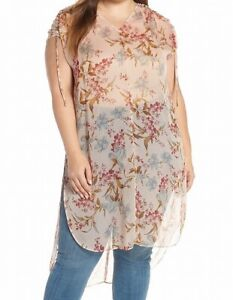 Vince-Camuto-Womens-Tunic-Blouse-Beige-Size-2X-Plus-Floral-Print-Sheer-109-325