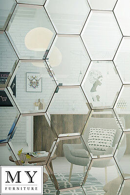 Hexagonal Silver mirror  bevelled wall tiles suitable for any bathroom kitchen