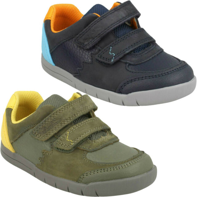 BOYS CLARKS RIPTAPE TRAINERS CASUAL LEATHER FIRST WALKING SHOES SOFTLY TOBY