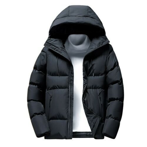 Mens Hooded Long sleeve Quilted Jacket Cotton Padded Outwear Winter Casual New B