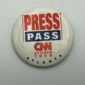 Vintage CNN Press Pass Studio Tour Button Badge Pin Pinback Atlanta  P6