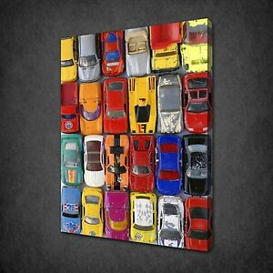 VINTAGE-TOY-CARS-COLLECTION-CANVAS-WALL-ART-PRINT-PICTURE-POSTER-READY-TO-HANG