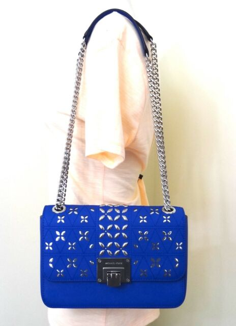 503a1135b012 Michael Kors TINA Stud Leather Medium Electric Blue Flap Crossbody Shoulder  Bag